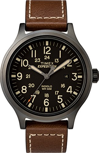 Timex Men's TW4B11300 Expedition Scout 43mm Brown/Black Leather Strap Watch
