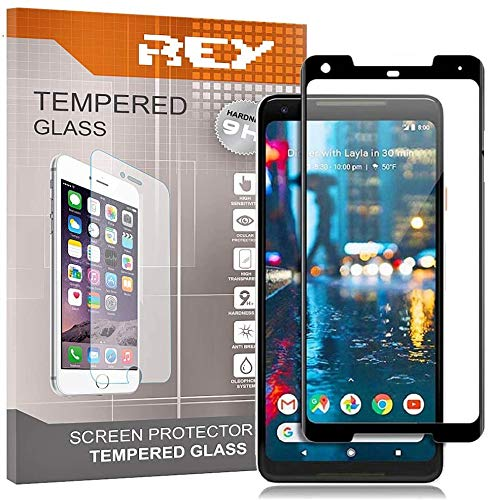 REY 3D Screen Protector for GOOGLE PIXEL 2 XL, Black, Polycarbonate Glass Film, Premium quality, Perfect protection for scratches, breaks, moisture, [Pack 2x]