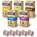 Gourmesso Eco Line Box (5 tipos) - 100% cápsulas de café compostables y sostenibles | sin aluminio ni plástico - 50 cápsulas de café compatibles con Nesspresso - orgánicas y de comercio justo