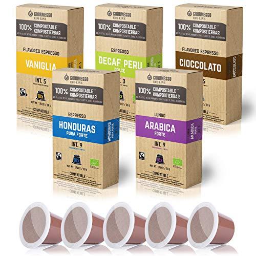 Gourmesso Eco Line Box (5 Sorten) - 100% kompostierbare* und nachhaltige Kaffeekapseln | ohne Alu und Plastik – 50 Nespresso kompatible Kaffeekapseln – Bio und Fairtrade