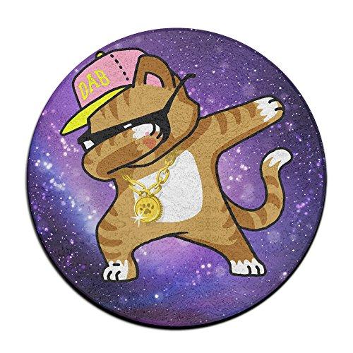 Tamponnant Cat Funny Cool Hip Hop Tamponnant Chaton antidérapant Tapis Circulaire Tapis de Moquette Salle à Manger Chambre à Coucher Tapis Tapis de Sol 59,9 cm