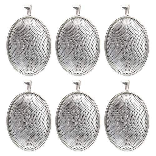 Healifty 6 Stück Glas Cabochon Kuppel Fliesen Oval Lünette Anhänger Trays für DIY Basteln Geschenk Schmuckherstellung 30 x 40 mm (Antik-Silber)