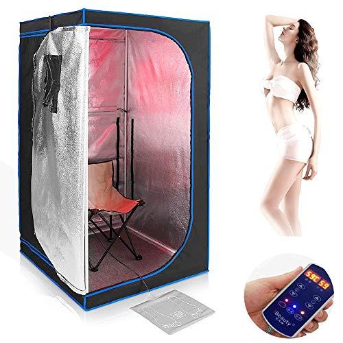 CTEGOOD Dampfsauna Maschine Zelt Heimsauna Wärmekabine mit Saunastuhl, beheiztem Fußpolster, beheiztem Teller, Verbesserung der Schlafqualität