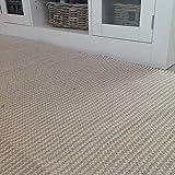 Colva kleiner Läufer, dünner Teppich, zweifarbig, naturbelassene Haferflocken, beige, gestreift, gewebtes Baumwollgarn, 70 cm x 130 cm