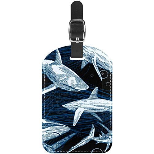 Etiquetas de equipaje de cuero con tiburones submarinos para maleta de viaje,...