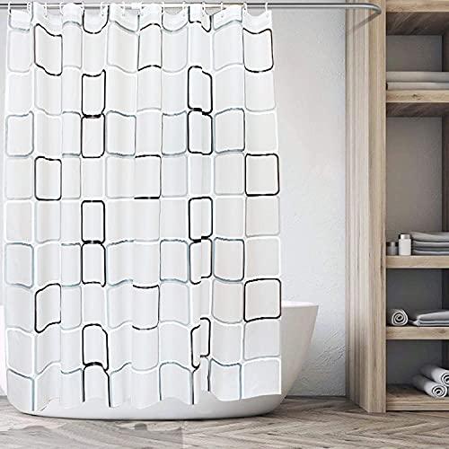 Duschvorhang, Anti-Schimmel Wasserdichter 180x200cm Waschbar Anti-Bakteriell Stoff Polyester Badewanne Vorhang mit Duschvorhängeringen