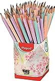 Maped - Crayons Graphite HB #2 Black'Peps Pastel - Crayons à Papier en Bois Pastel avec Gomme - Forme Ergonomique - Pot de 72 Crayons Papier Pastel Rose, Violet, Bleu