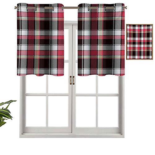 Hiiiman Cortinas cortas con patrón de protección de privacidad con cuadros mosaicos diagonales de rayas verticales, impresión gráfica, juego de 2, 106,7 x 60,9 cm para baño, cocina, sala de estar
