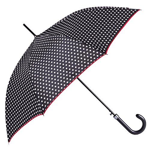 BOLERO OMBRELLI - Paraguas de lluvia largo clásico antiviento y automático de alta calidad - Apertura automática - Tejido Pongee 190T - Hombre mujer Bianco & Nero H: 85 cm. Ø: 102 cm