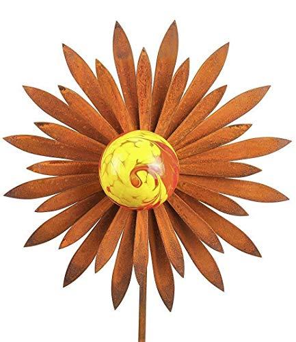 Bornhöft Gartenstecker Metall Rost Gartendeko rostige Dekoration Edelrost mit Glaskugeln (Blume Spitz)