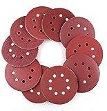 WeeDee Lot de 100 disques de ponçage disque abrasifs pour ponceuse excentrique Ø 125 mm grain abrasif de 40/60/80/100/120/180/240/320/400/800 (10 disques à poncer par taille de grain) (100PCS)