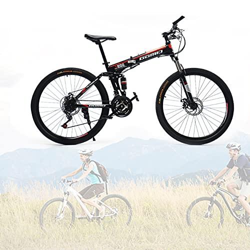 Bicicleta Plegable para Adultos, 24 26 pulgadas Bike Sport Adventure, Bicicletas de cross-country con doble amortiguación para hombres y mujeres/F / 24speed / 24inch