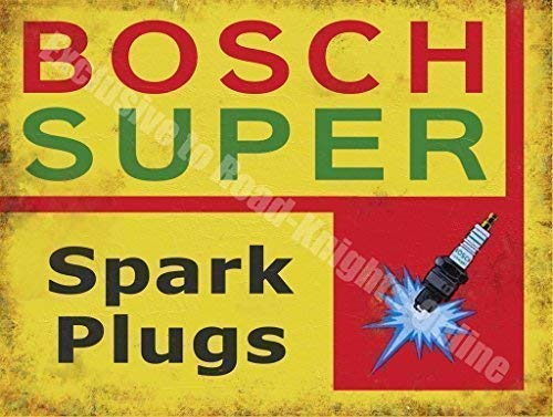 Bosch Super Spark Plugs Garage Vintage Panneau mural en métal/acier, Acier, 15 x 20 cm