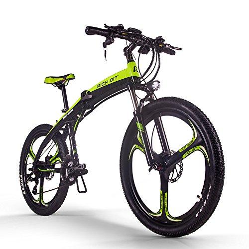 RICH BIT Bicicletta elettrica TOP-880 Mountain bike pieghevole elettrica 26 pollici 36 V 250 W 9.6 Ah Ebike TEKTRO Freno a disco idraulico Bicicletta elettrica (verde scuro)