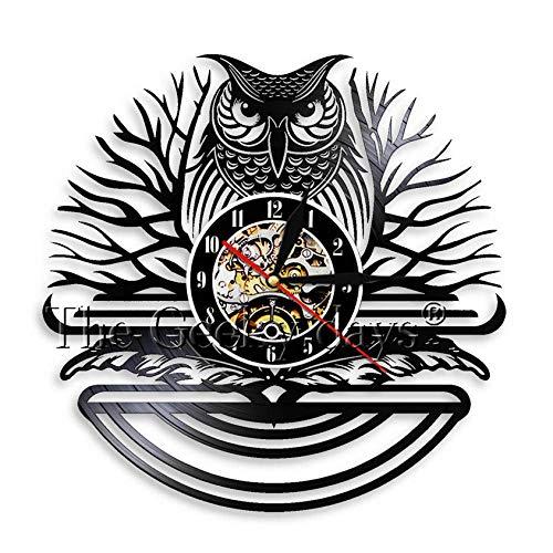 Wanduhr Aus Vinyl Nachteule Vögel Vintage Schallplatte Wanduhr Handmade EIN Vogel von Minerva Tiere Hause Wandkunst Raum 3D Quarz Dekor Uhr 30 cm Io019