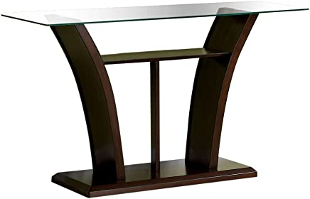 Furniture of America IDF-4104S Veretta Sofa Table with 10mm Beveled Glass Top Dark Cherry