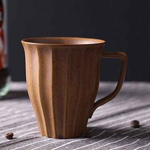 KYSM Taza de gres japonés Taza de cerámica Taza de Agua Taza de café Taza de Leche 250ml Amarillo Antiguo