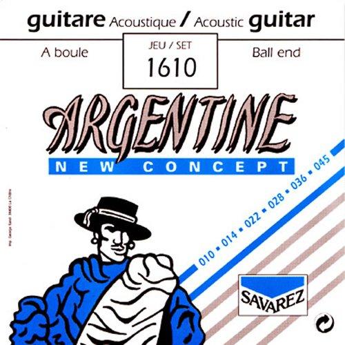 Savarez 1610 - Juego Cuerdas Cuerdas Guitarra Acústica Argentine Loop End (10-45) Extra Light con bola