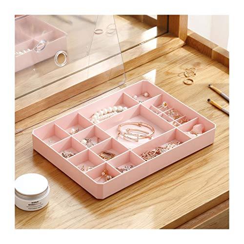 Caja de joyería La joyería bandeja de la caja de almacenamiento Exhibidor Expositor Anillos Pendientes Collares Pulsera Organizador extraíble Broches con tapa transparente caja ( Color : Pink )