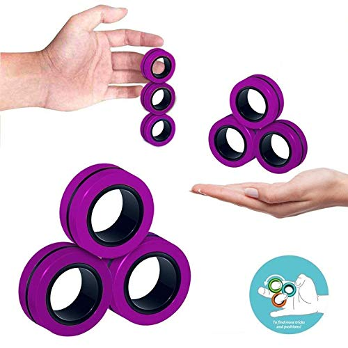 BINGLALA Finger Magnetic Ring, Magnet Toy, Magnetic Fingertip Toys, Decompression Magnetic Magic Ring, Magnetic Game, Magic Toy, Magnetic Bracelet, Durable Unzip Toys (3Pcs-Purple)