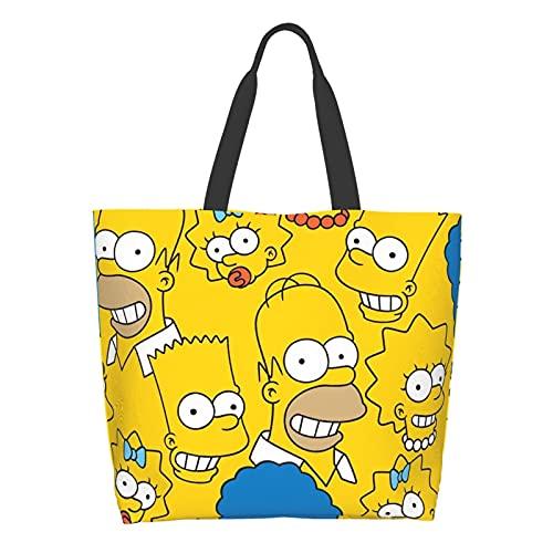 Anime Cartoon Simpsons Señoras Gran Capacidad Bolsa de Hombro de Compras Escuela de Trabajo Bolsa Bolsa Bolsa de Almacenamiento de Comestibles Bolsa de Tableta