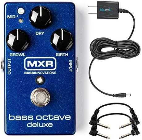 popular MXR M288 Bass Octave Deluxe Pedal outlet online sale Bundle with Blucoil Slim 9V 670ma Power Supply AC Adapter, 2-Pack lowest of 10-FT Straight Instrument Cables (1/4in), 2x Patch Cables, and 4-Pack of Celluloid Guitar Picks online