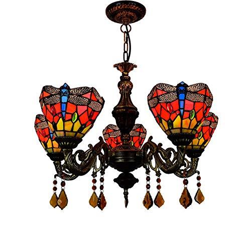 Araña de estilo vintage 24 pulgadas de Tiffany de la lámpara 5 Jefes de cristal rojo de la libélula lámpara colgante restaurante Colgando Light Cafe Bar Sala de estar luz colgante