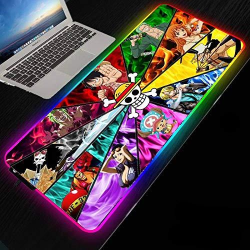 Alfombrillas de ratón Alfombrilla de ratón extendida para Juegos Anime One Piece XXL RGB, Alfombrilla de Goma Antideslizante LED de Superficie Impermeable para Jugadores (900×400×3mm)