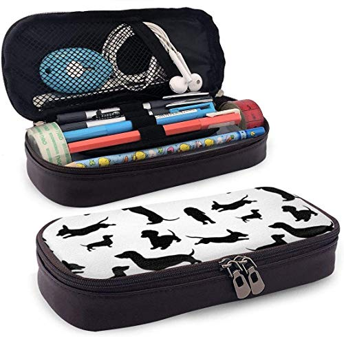 Synthetic Leather Pencil Case Dachshund Dog Silhouette Pen Bag Zipper Pen Pouch Pencil Holder Case for School Work Office