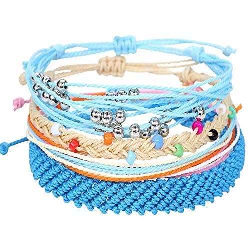 1 unid pulseras playa azul impermeable borde biselado cera hilo hecho a mano 4 piezas conjunto creativo popular