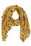 Zwillingsherz Seiden-Tuch im Blätter Design - Hochwertiger Schal für Damen Mädchen - Halstuch - Umschlagstuch – Pashmina - Loop - weicher Schlauchschal für Frühjahr Sommer Herbst Winter - gelb