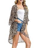 Kate Kasin Women Chiffon Beach Bathing Swimsuit Cover ups Leopard Brown M