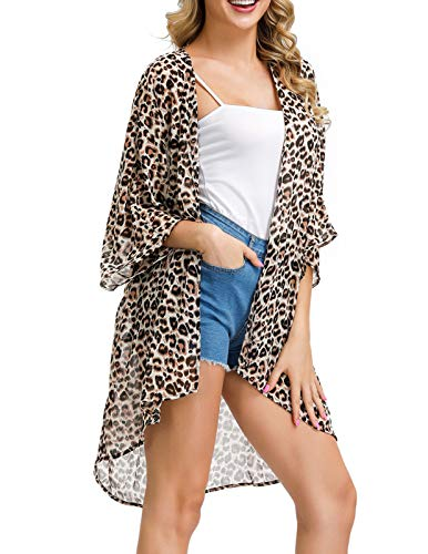 Kate Kasin Women's Chiffon Loose Kimono Cardigan Swimsuit Cover UPS Plus Size (Leopard Brown, Small)