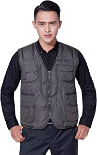 XFentech Man Waistcoat - Mens Vest Warmer Outdoor Sports Camping Fishing Photography Sleeveless Down Autumn Winter Jacket, Brown, US 2XL=Tag 3XL