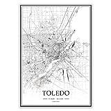 USA OH Toledo Schwarz-Weiß minimalistische Kunst 20 × 28