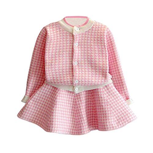 RETUROM Vestido de Invierno, Niñas bebés Plaid Punto suéter Abrigo Tops + Ropa de Falda Conjuntos tamaño 2-7 años (4-5 años, Rosa)