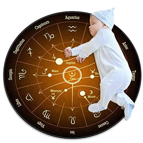 HDFGD Planet Signs Baby kreisförmige Spielmatte Krabbelmatte Krabbelmatte Klimaanlage Teppich für Kinder Kleinkinder Schlafzimmer, 70 x 70 cm, mehrfarbig02, 80x80cm/31.5x31.5IN
