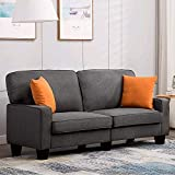 Mecor Loveseat Sofa Couch Fabric Loveseat Couch Classic Modern Sofa 68 Inch Living Room Furniture (Grey)