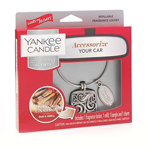 Yankee Candle Charming Scents Car Air Freshener Square Starter Kit, Sparkling Cinnamon