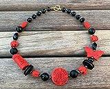 Collar de onix negro y cinabrio rojo, estilo oriental, joyas de piedras naturales, joyas contemporaneas, regalo para ella
