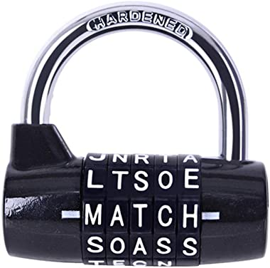 Gym Locker Lock,5 Letter Word Lock,5 Digit Combination Lock,Safety Padlock for School Gym Locker,Sports Locker,Fence,Toolbox,