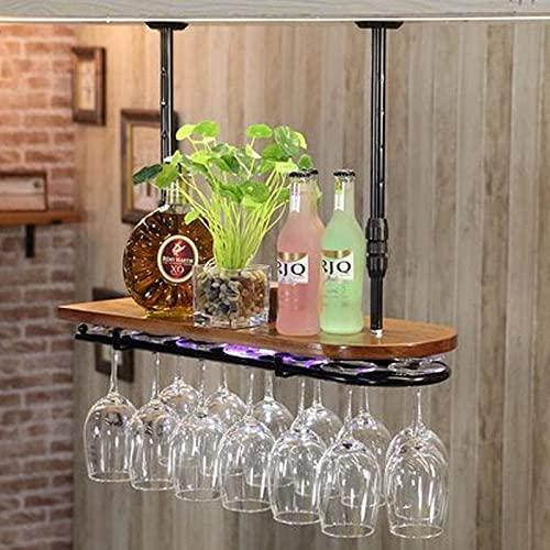 Estante para vino, hierro para colgar, con luz de neón en forma de U, al revés, estante para copas de vino, ajuste de 5 engranajes, estante de madera antiguo, estante de vidrio, decoración de bar
