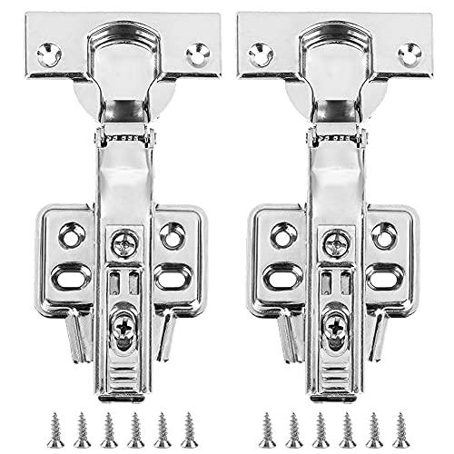 2 bisagras de puerta para armario de cocina con tornillo, con mecanismo de cierre suave integrado para amortiguar la bisagra hidráulica (fácil de instalar y desmontable)