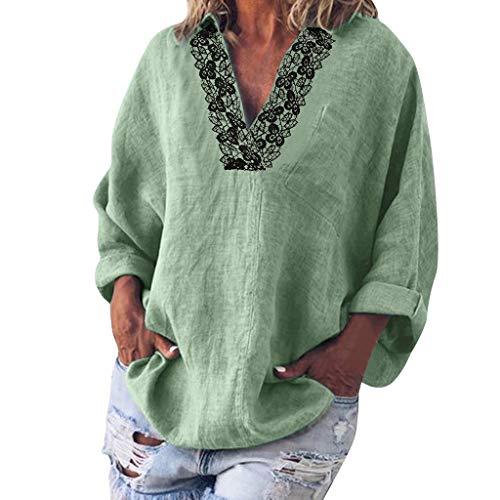 Xmiral Bluse Tops Damen Spitze Spleiß Langarm V-Ausschnitt Lose T-Shirt Pullover Große Größe Einfarbig Umlegekragen Sweatshirt(Minzgrün,XL)