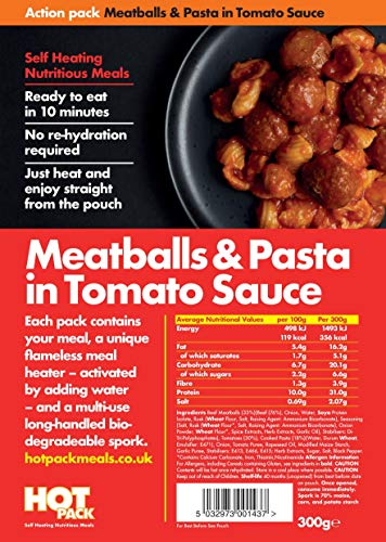 Action Pack Self Heating Meal Pouch Meatballs & Pasta Meals ready to Eat (MRE)