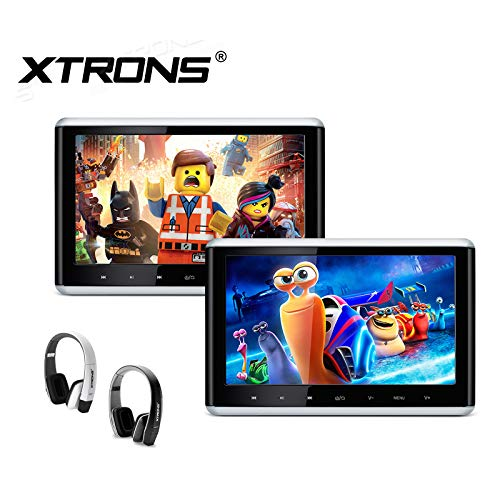 XTRONS 2 x 10.2 Inch Pair HD Digital TFT Screen HDMI Video Car Active Headrest DVD Player New Version IR Headphones(Black&White)