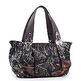 Mossy Oak Camouflage Shoulder Bag w/Cross Accent & Croco Trim -Camouflage/Coffee