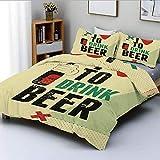 Juego de funda nórdica, me encanta beber cerveza, caligrafía con una mano sosteniendo una botella de alcohol, ilustración de grunge, juego de cama decorativo de 3 piezas con 2 fundas de almohada, mult