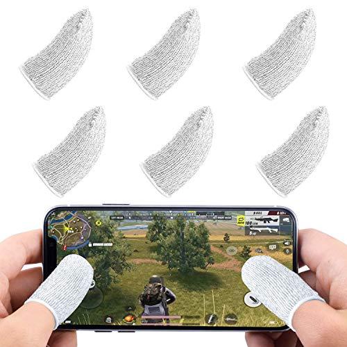 Newseego Juego de Mangas para el Dedo del Juego móvil de PUBG [Paquete de 6], Pantalla táctil de Dedo Manga Transpirable Disparos sensibles al Sudor para Cuchillos para Android y iOS - Blanco