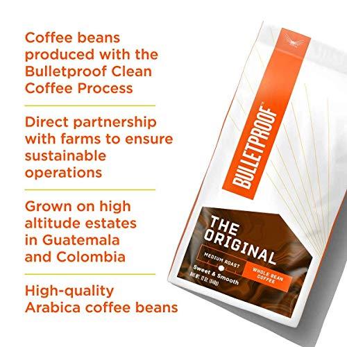 The Original Whole Bean Coffee, Medium Roast, 12 Oz, Bulletproof Keto Friendly 100% Arabica Coffee, Certified Clean Coffee, Rainforest Alliance, Sourced from Guatemala, Colombia & El Salvador